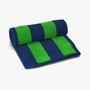 3d beach towel green