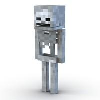3D model minecraft skeleton rigged modo
