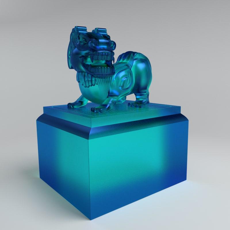 3d lion jade