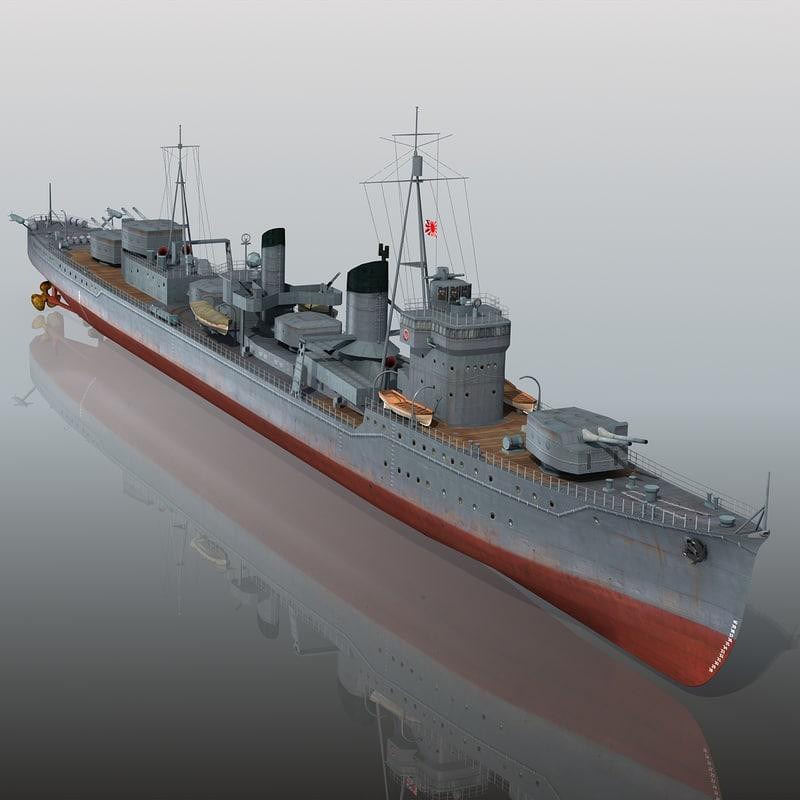 3d japanese destroyer kagero model