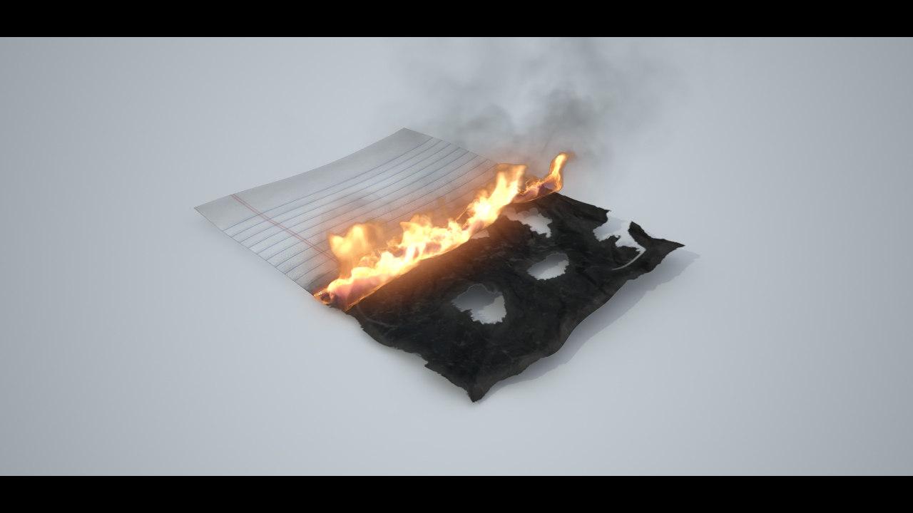 burning paper 3d max