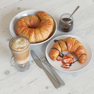 3d breakfast croissant