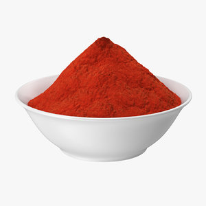 3d bowl red curry powder model