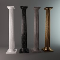 Reproduction of the ancient classic Greek Doric Column and Capital: Marble, Gypsum, bronze-gold.