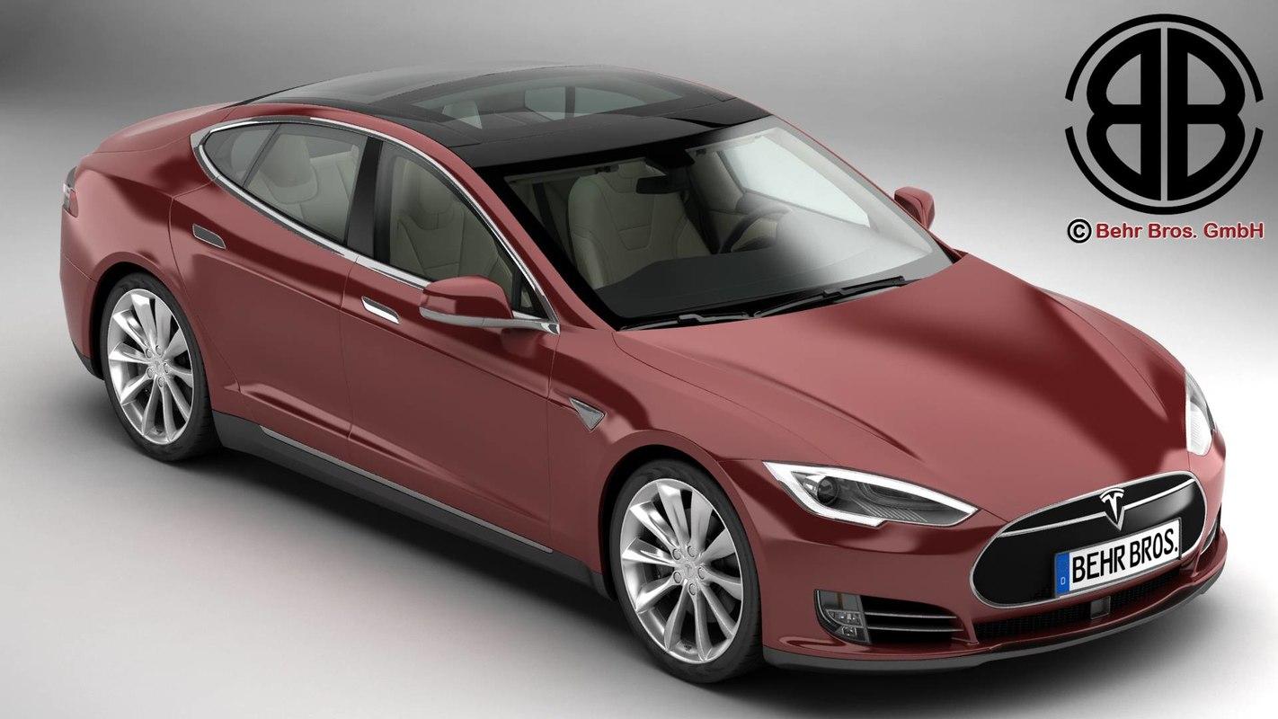 tesla s 2015 modelled 3d model