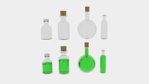 3d poison bottles model