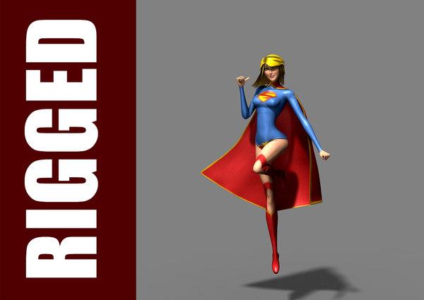 supergirl rig character 3d model