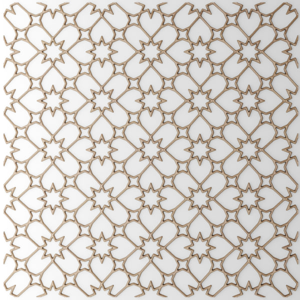 lattice arab panel 3d model