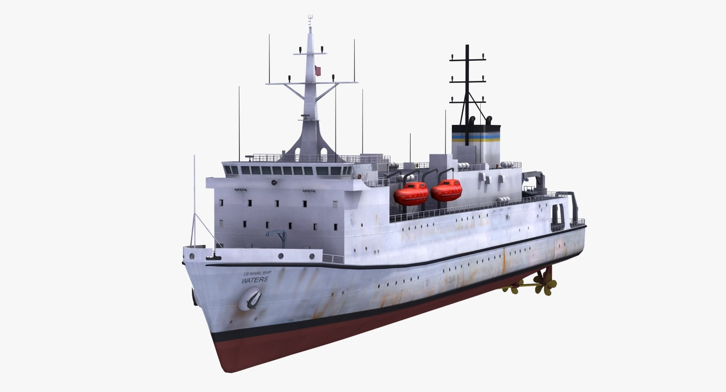 3d model usns waters t-ags-45 ship
