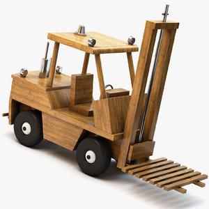 3d model of wooden toy forklift wood