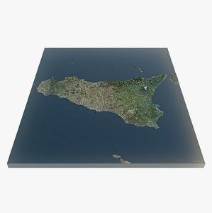 3d island sicily scene