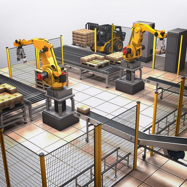automation robotic bag palletizing 3d max