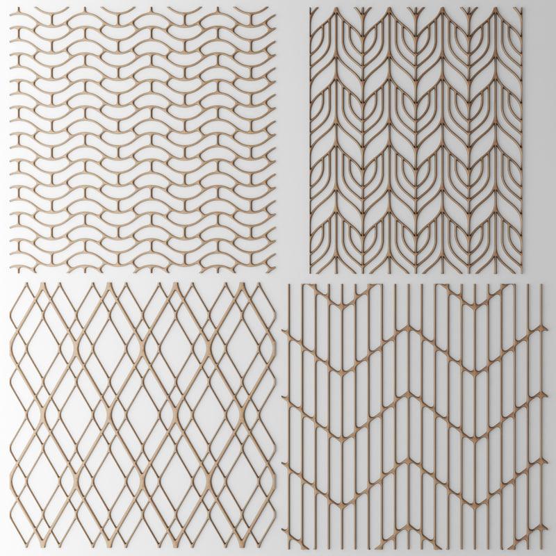 set panel lattice grille 3d model