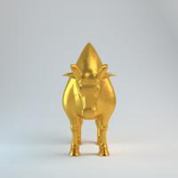 bull gold 3d model