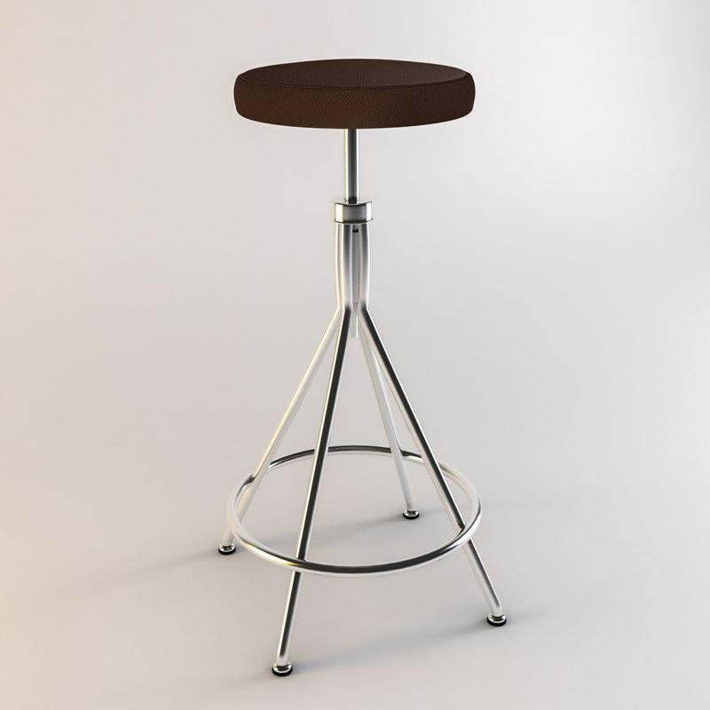 3d retro bar stool model