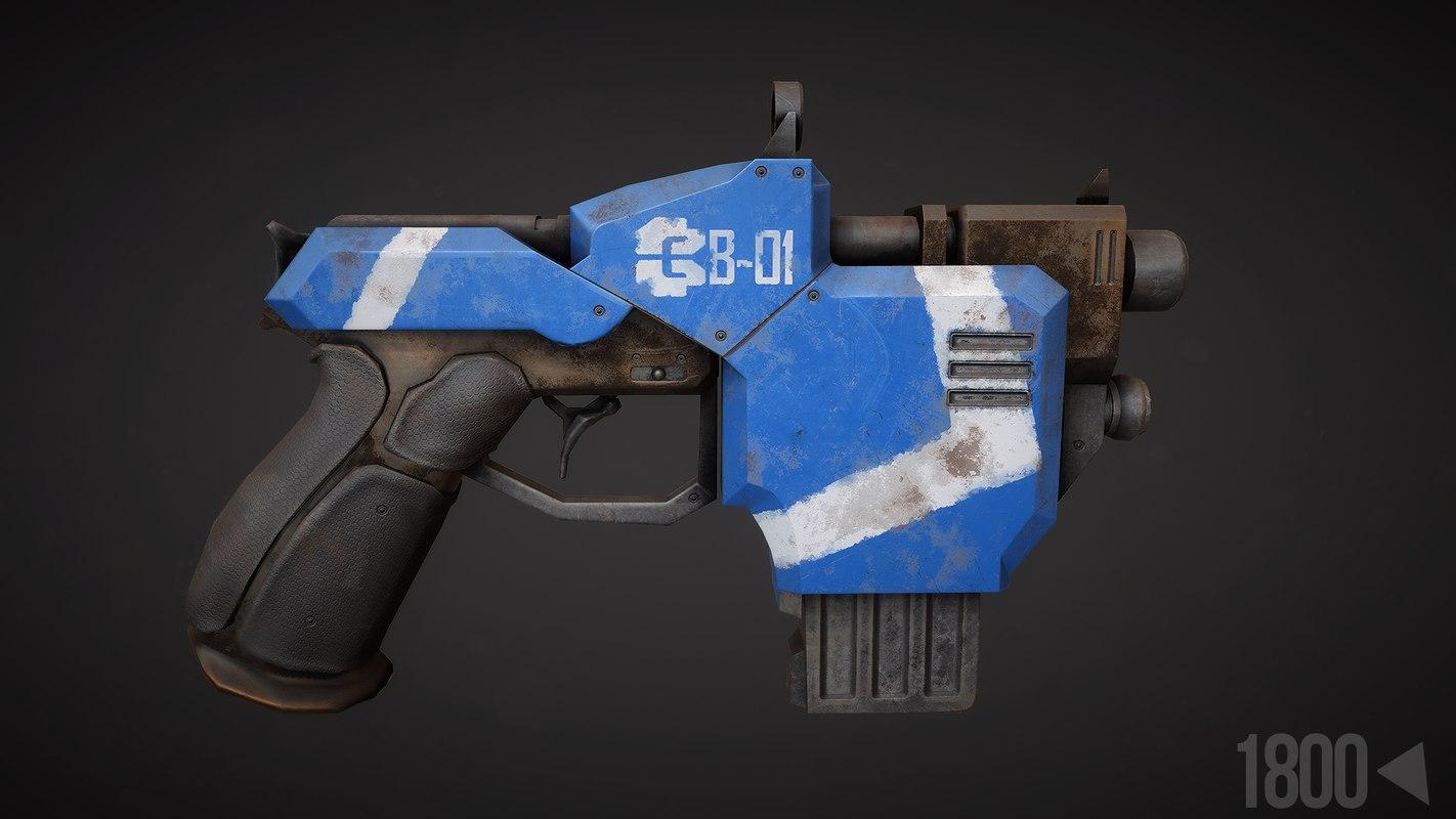 sci-fi pistol obj