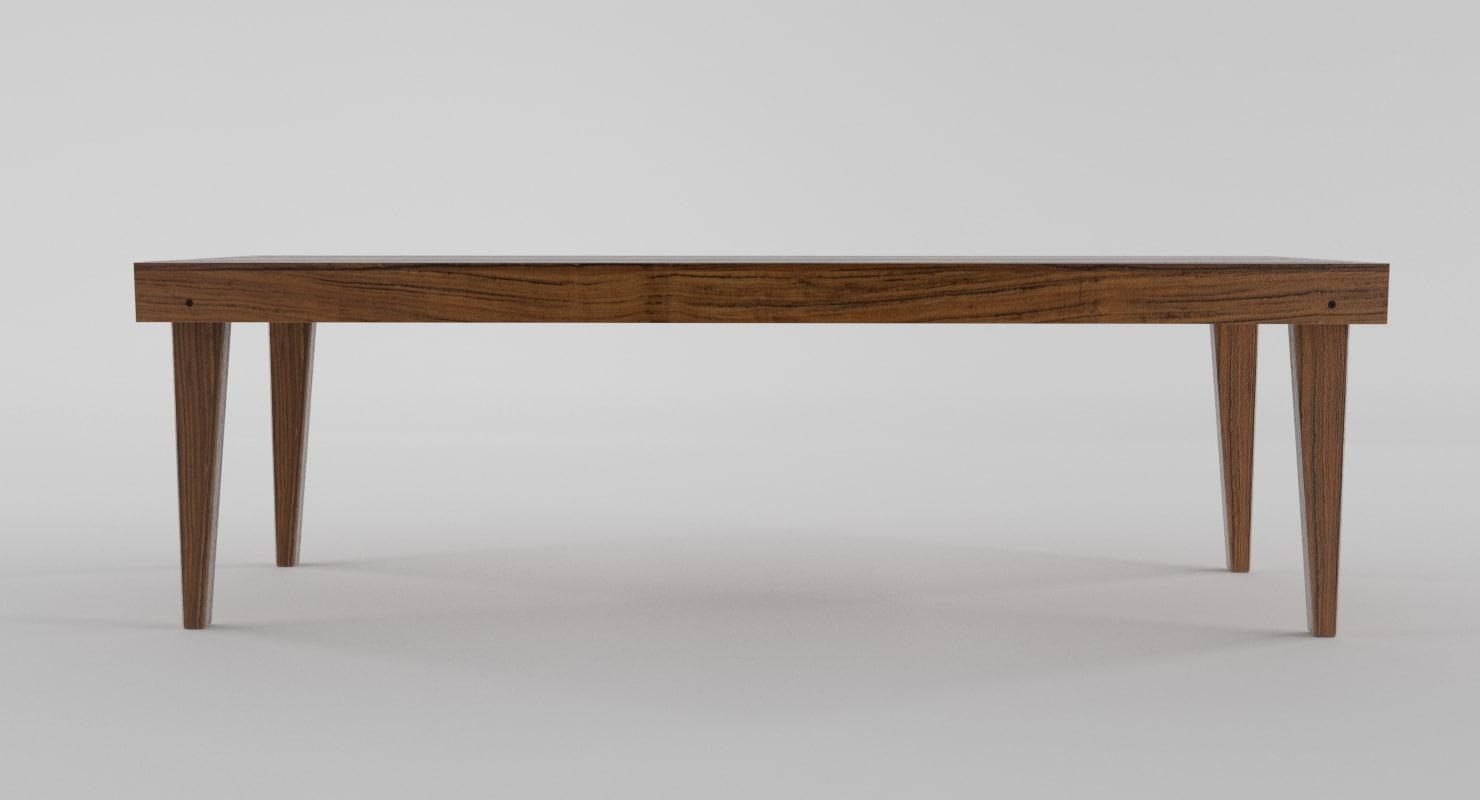 wooden bench 3d blend