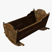 3d model wooden baby cradle