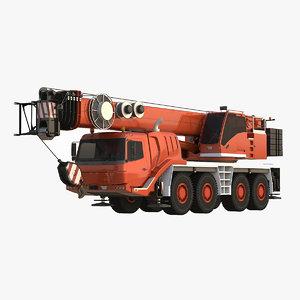 3d model mobile crane 4 axle