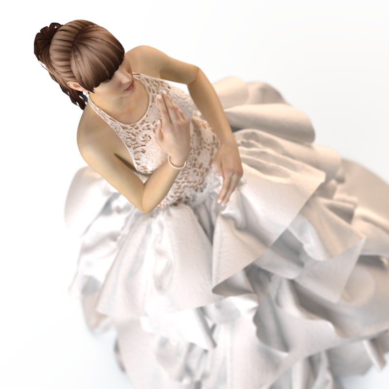 3d evening wedding dress