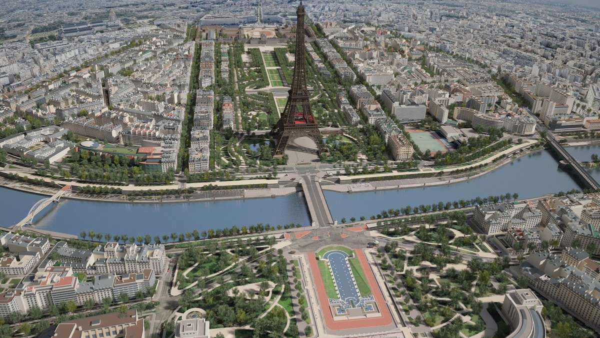 paris city eiffel tower 3d max
