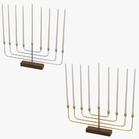3d menorahs silver gold
