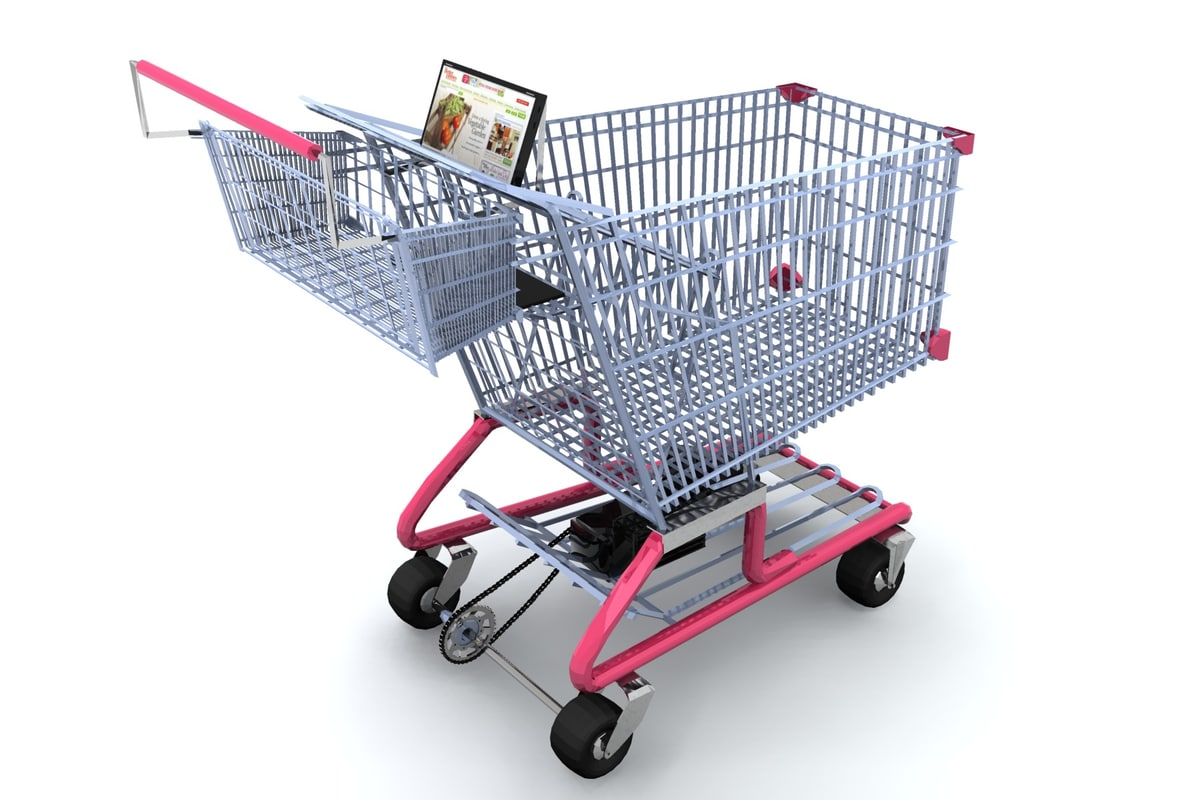 digital shopping cart 3d obj