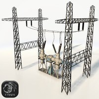 Electric power ransformator low poly