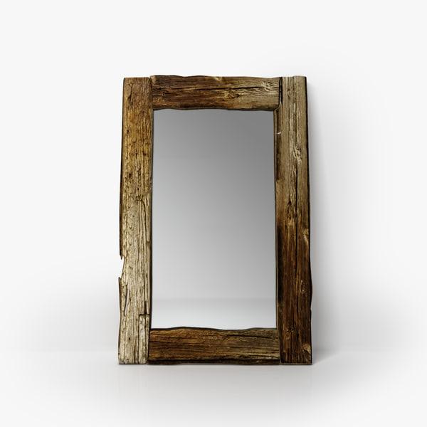 Rustic Wooden Mirror 3d Max, Wood Rustic Mirror