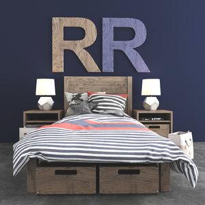 3d bed bedroom set model