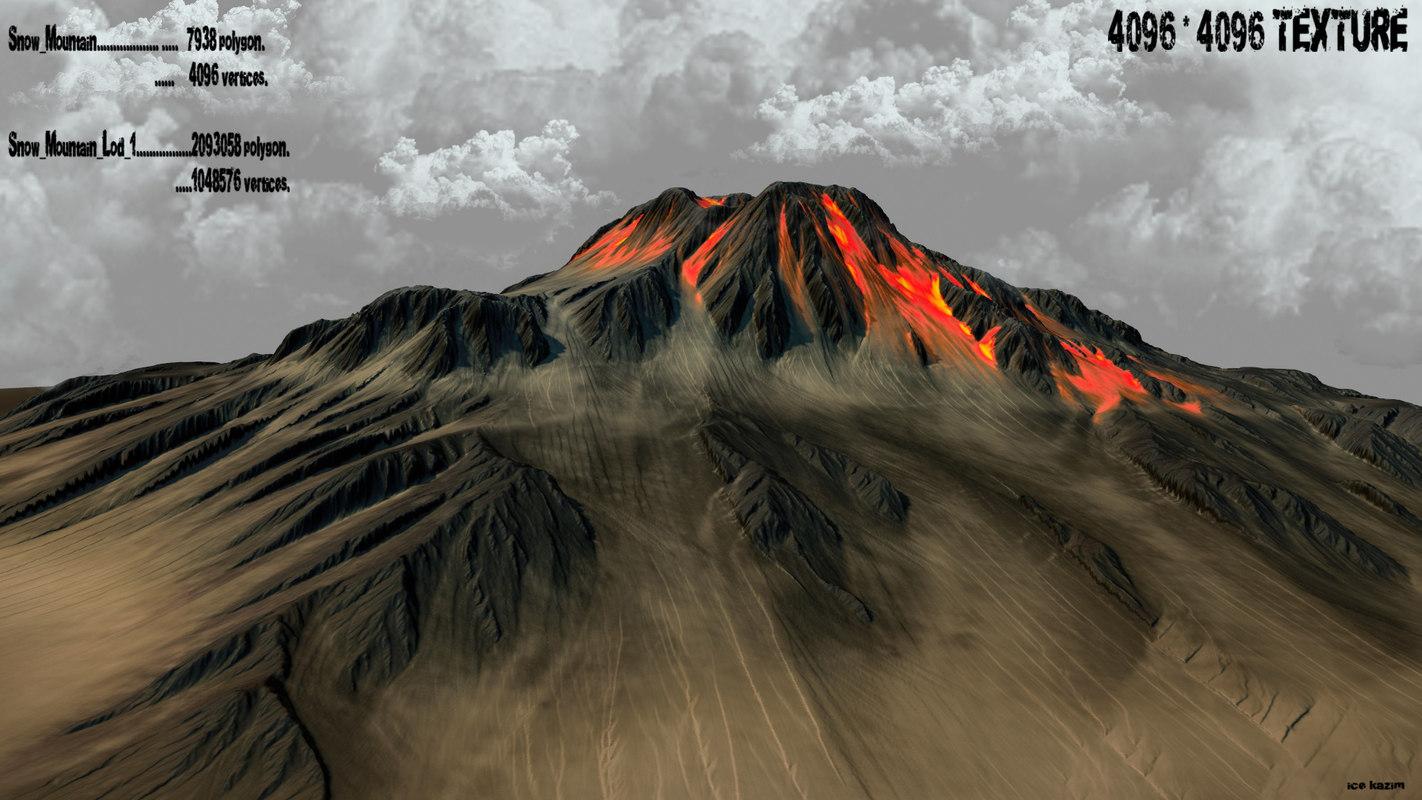 volkano mountain 3d obj