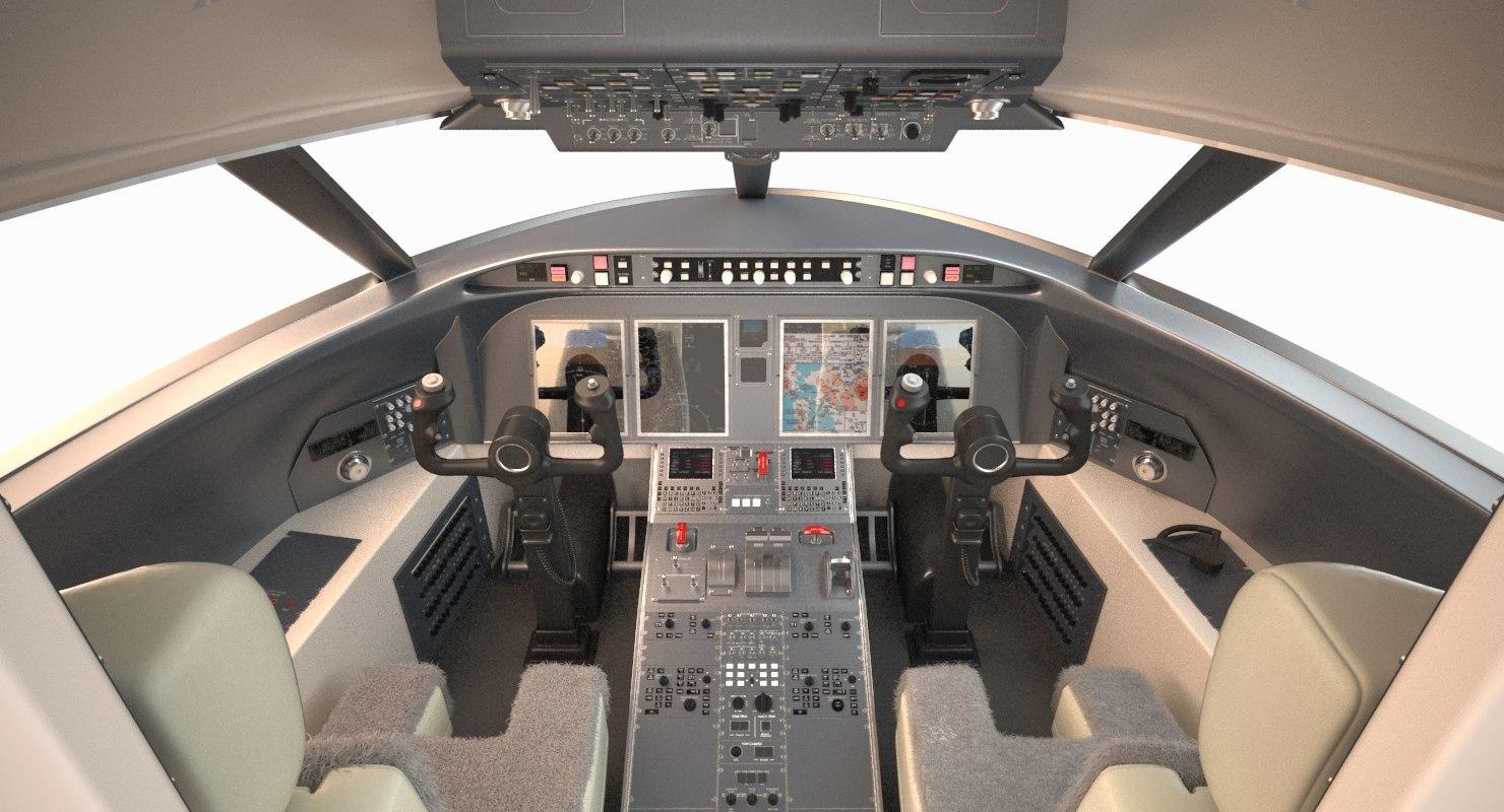 challenger bombardier 605 cockpit 3d max