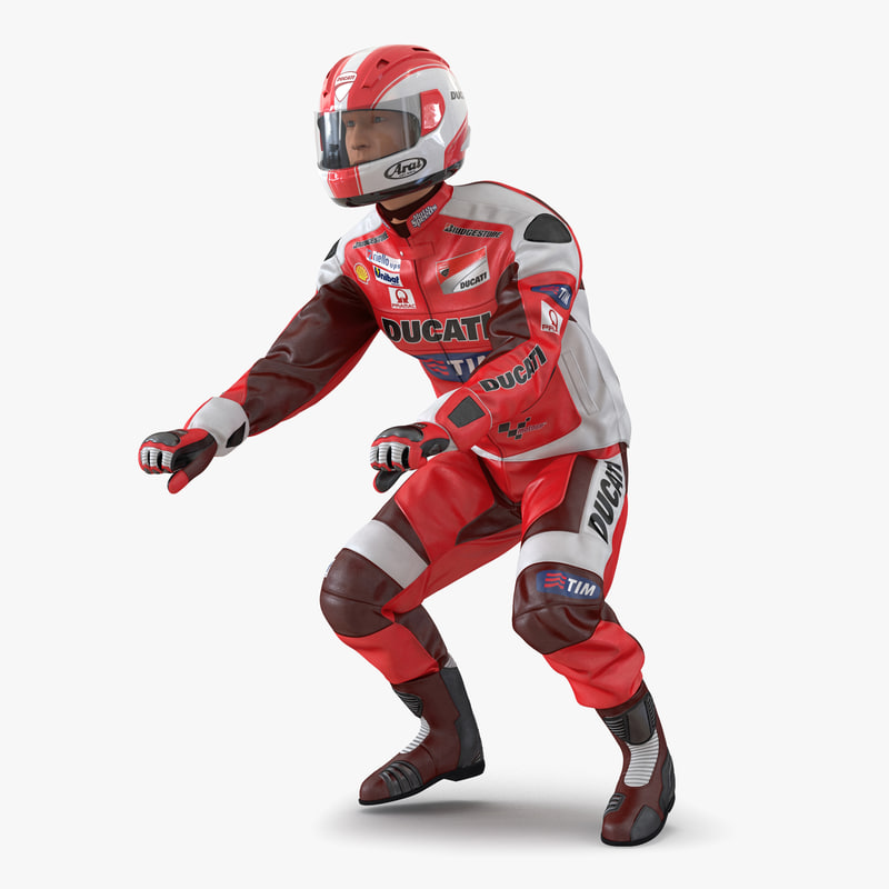 3d motorcycle rider 2 rigged