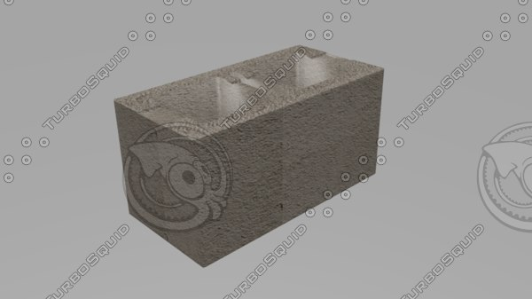 3d model of perforated concrete brick