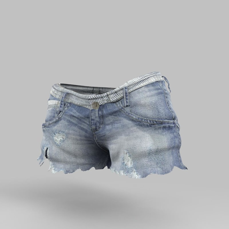 3d model jeans shorts