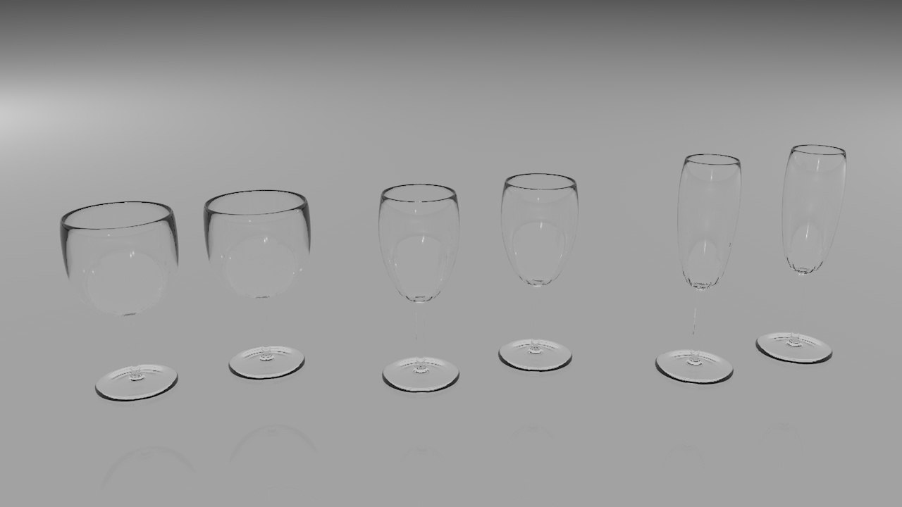wine glass set c4d