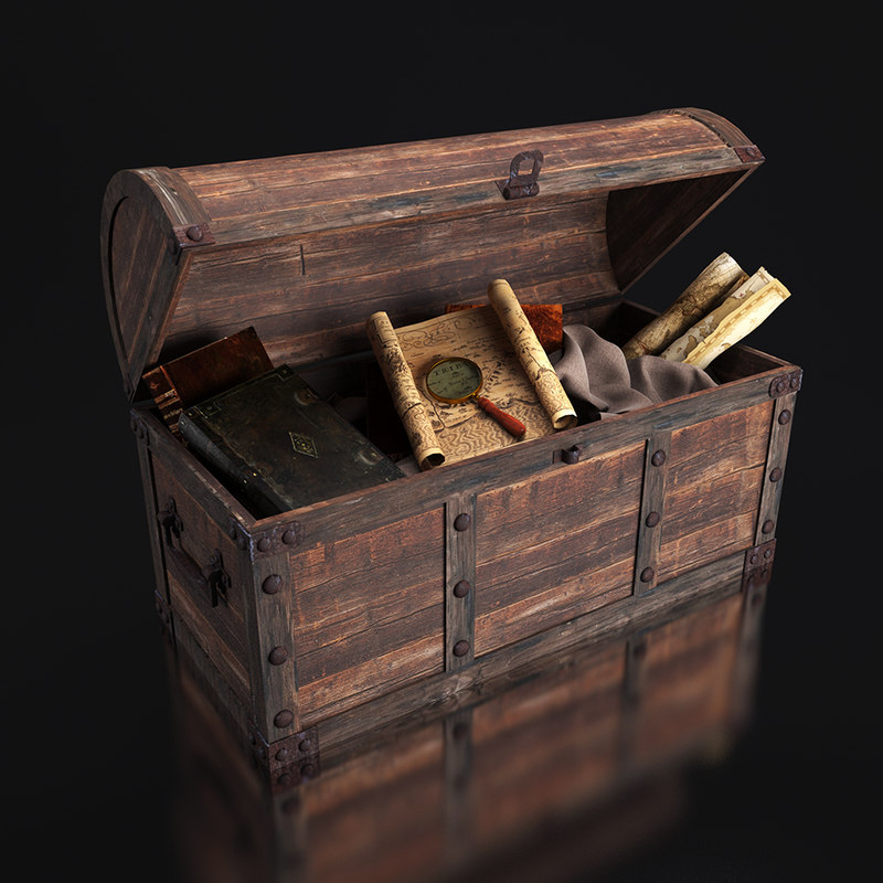 old chest artifacts 3d 3ds
