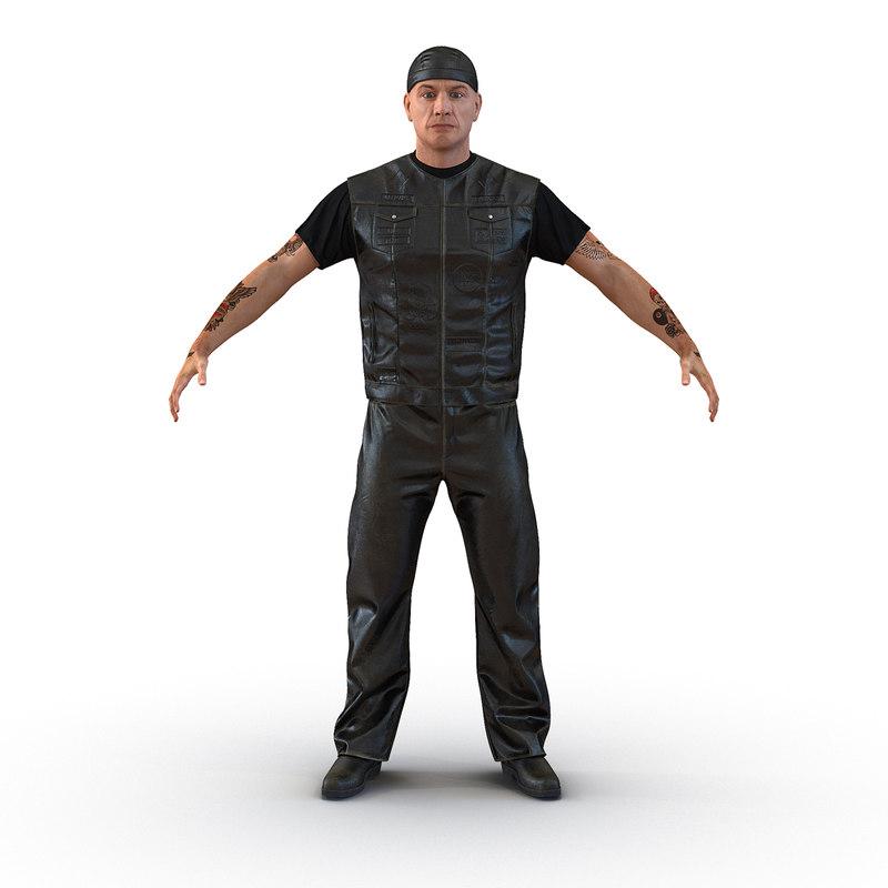 3d model biker man generic
