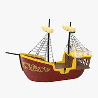 3d toy sailboat 3 red
