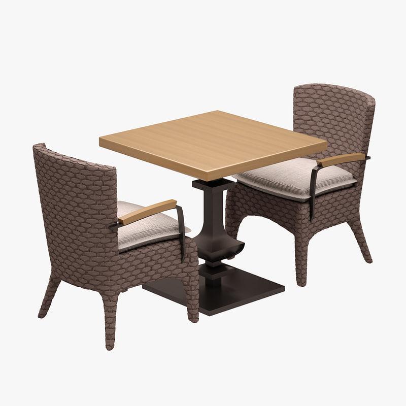 dinner set cafe 3d model