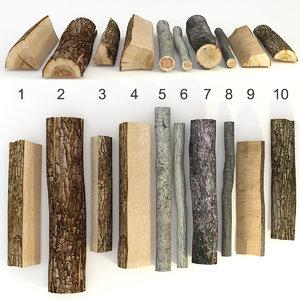 3d 3ds set wood log