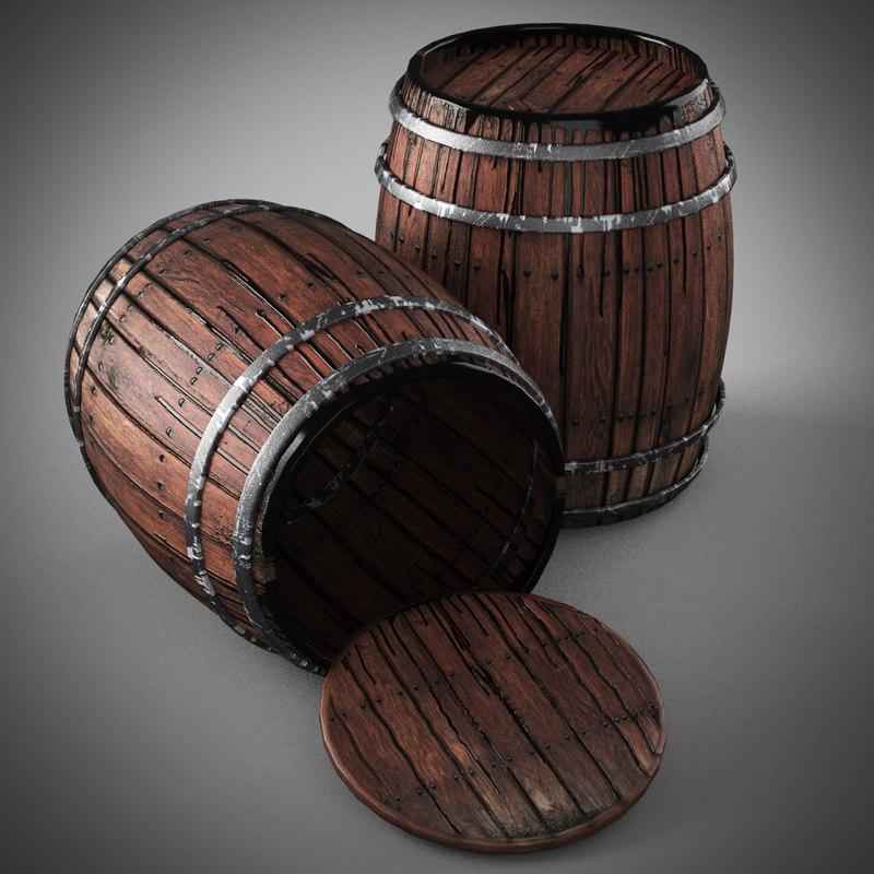 old wooden barrels 3d obj