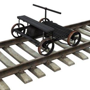 handcar railway 3d max