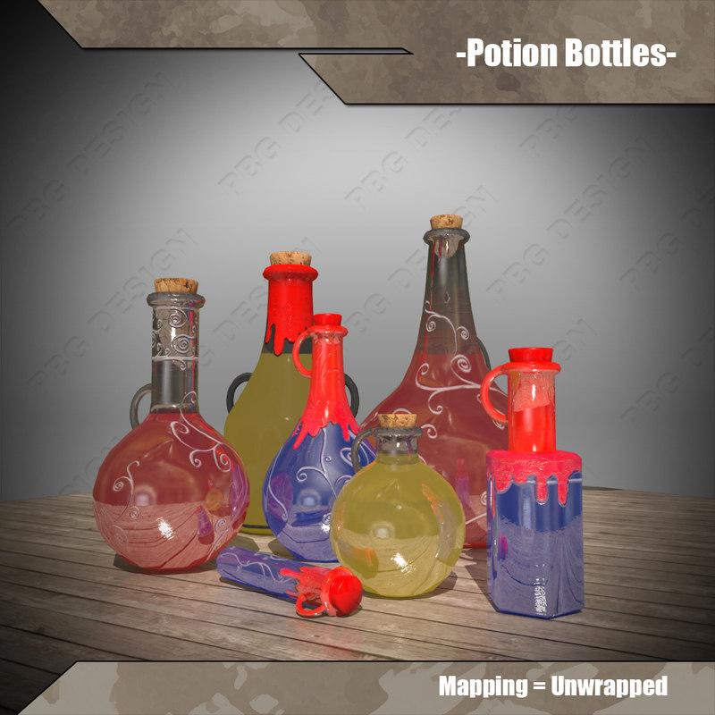 potion bottles 3d 3ds