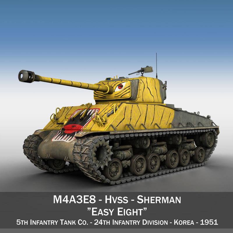 3ds m4a3e8 sherman - tank