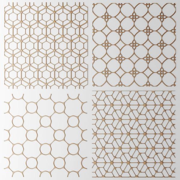 set panel lattice grille 3d max
