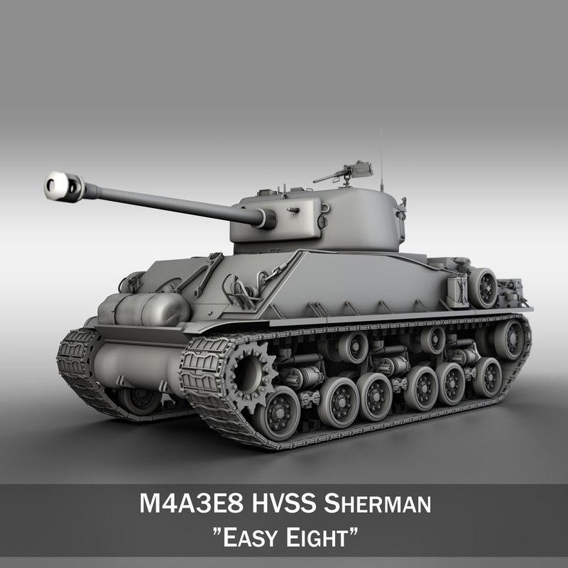 m4a3e8 sherman - easy 3d lwo