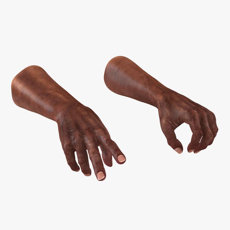 3d model old african man hands