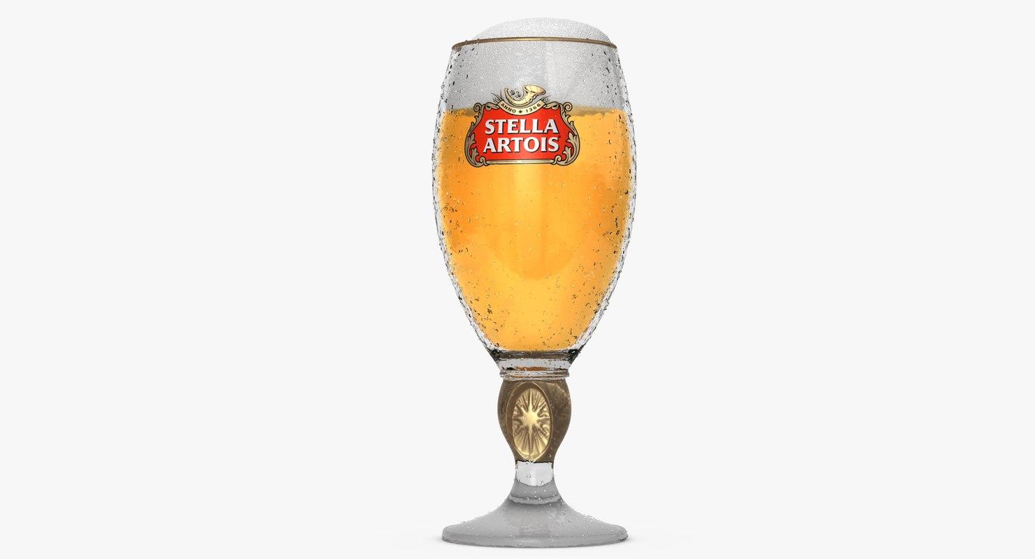 stella artois glass beer 3d model