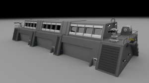 futuristic military barracks building 3d model